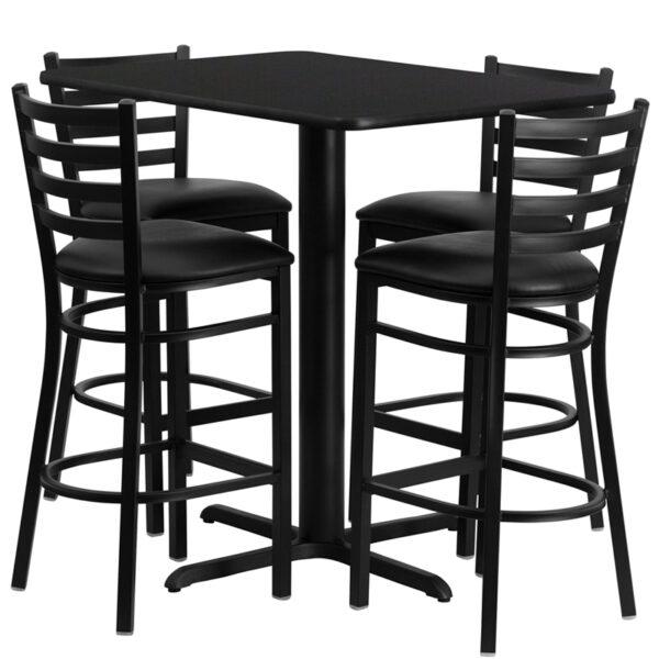 Lowest Price 24''W x 42''L Rectangular Black Laminate Table Set with 4 Ladder Back Metal Barstools - Black Vinyl Seat