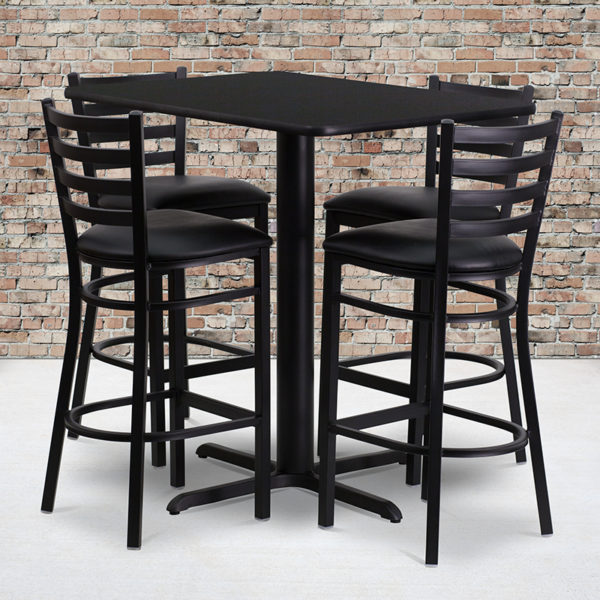Wholesale 24''W x 42''L Rectangular Black Laminate Table Set with 4 Ladder Back Metal Barstools - Black Vinyl Seat