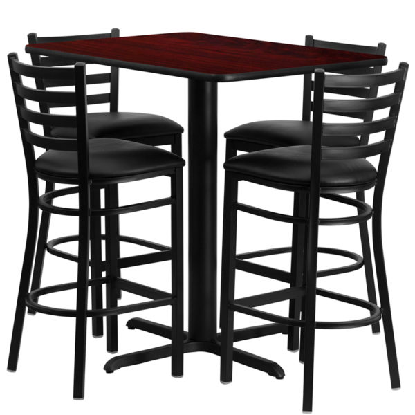Lowest Price 24''W x 42''L Rectangular Mahogany Laminate Table Set with 4 Ladder Back Metal Barstools - Black Vinyl Seat