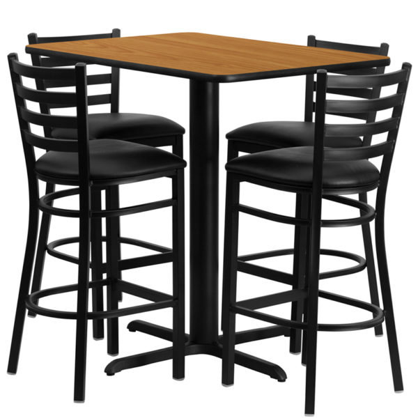 Lowest Price 24''W x 42''L Rectangular Natural Laminate Table Set with 4 Ladder Back Metal Barstools - Black Vinyl Seat