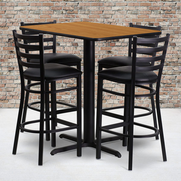 Wholesale 24''W x 42''L Rectangular Natural Laminate Table Set with 4 Ladder Back Metal Barstools - Black Vinyl Seat