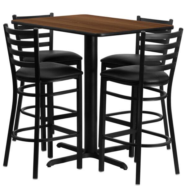 Lowest Price 24''W x 42''L Rectangular Walnut Laminate Table Set with 4 Ladder Back Metal Barstools - Black Vinyl Seat