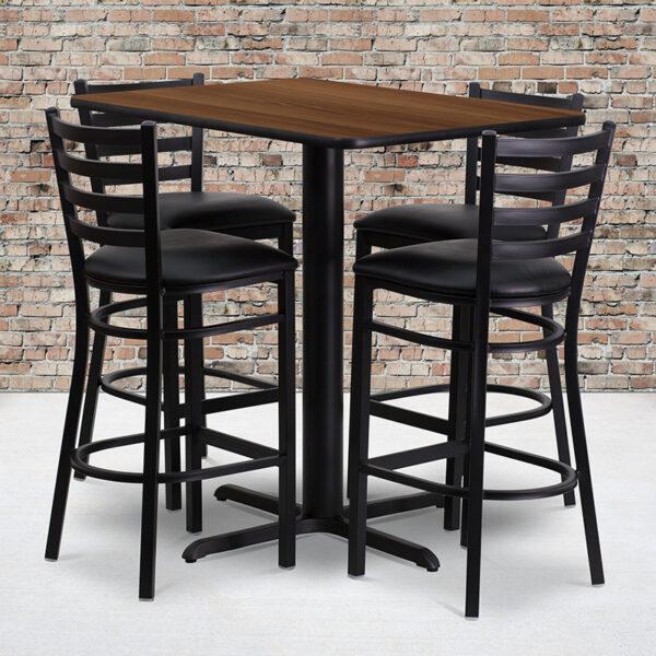 Wholesale 24''W x 42''L Rectangular Walnut Laminate Table Set with 4 Ladder Back Metal Barstools - Black Vinyl Seat