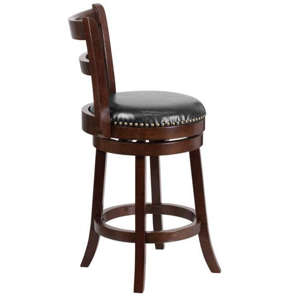 Lowest Price 26'' High Cappuccino Wood Counter Height Stool with Single Slat Ladder Back and Black Leather Swivel Seat