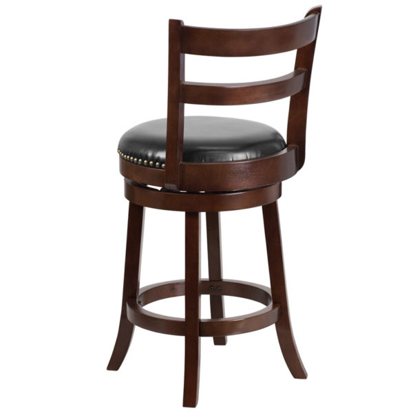 "Transitional Style Stool 26"" Cappuccino Wood Stool"