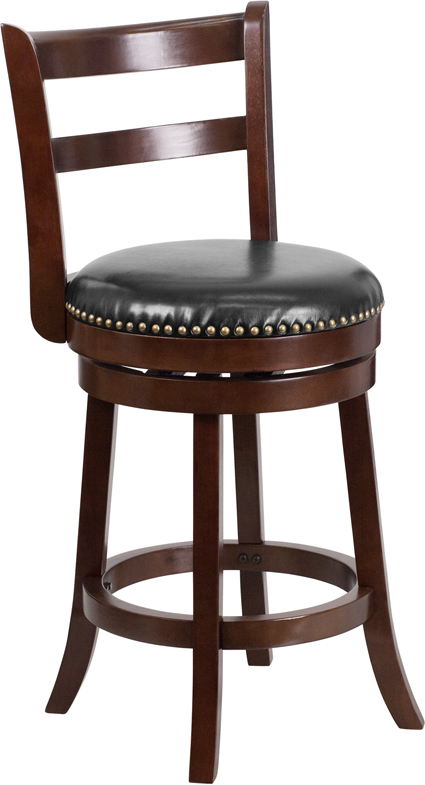 Wholesale 26'' High Cappuccino Wood Counter Height Stool with Single Slat Ladder Back and Black Leather Swivel Seat