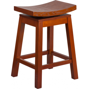 Wholesale 26'' High Saddle Seat Light Cherry Wood Counter Height Stool with Auto Swivel Seat Return