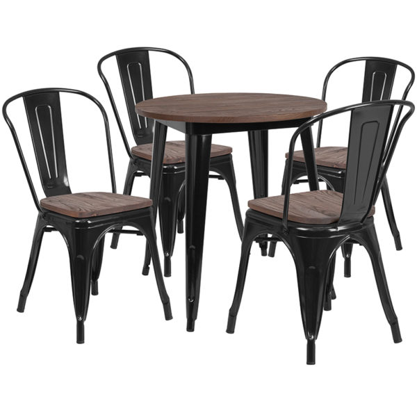 """Wholesale 26"""" Round Black Metal Table Set with Wood Top and 4 Stack Chairs"""