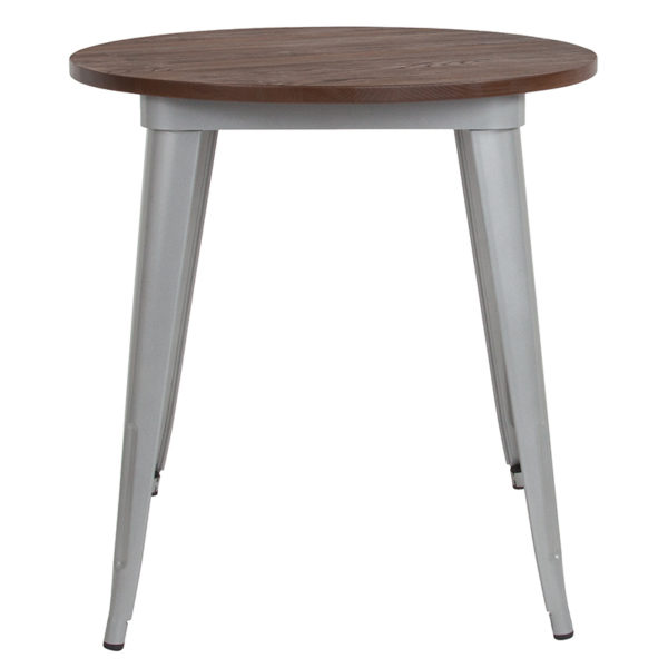 "Lowest Price 26"" Round Silver Metal Indoor Table with Walnut Rustic Wood Top"