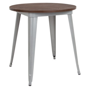 "Wholesale 26"" Round Silver Metal Indoor Table with Walnut Rustic Wood Top"