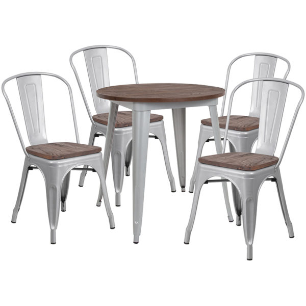 """Wholesale 26"""" Round Silver Metal Table Set with Wood Top and 4 Stack Chairs"""