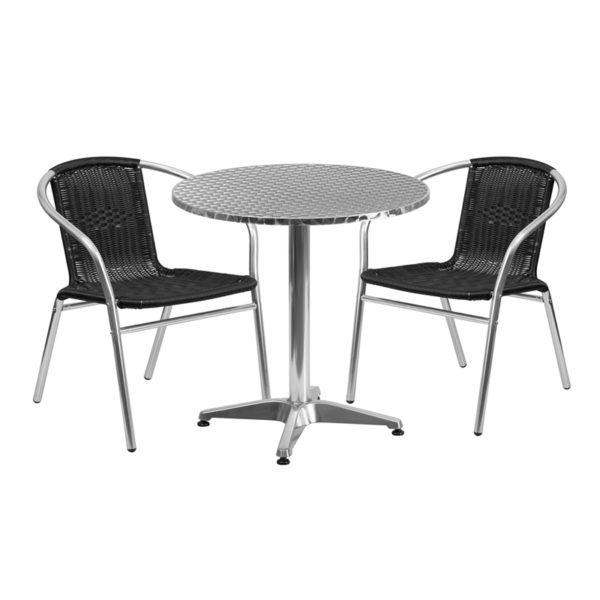 Wholesale 27.5'' Round Aluminum Indoor-Outdoor Table Set with 2 Black Rattan Chairs