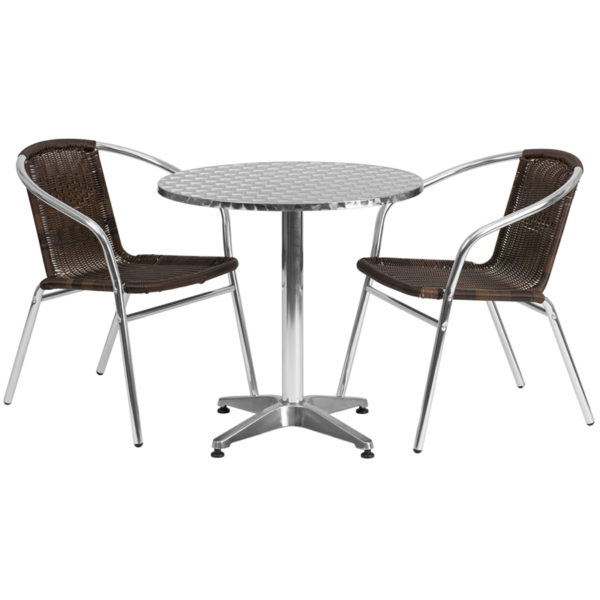 Wholesale 27.5'' Round Aluminum Indoor-Outdoor Table Set with 2 Dark Brown Rattan Chairs