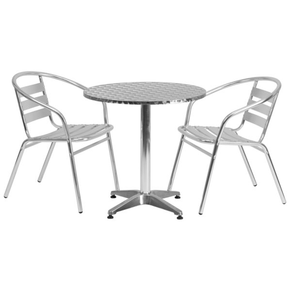 Wholesale 27.5'' Round Aluminum Indoor-Outdoor Table Set with 2 Slat Back Chairs