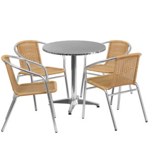 Wholesale 27.5'' Round Aluminum Indoor-Outdoor Table Set with 4 Beige Rattan Chairs
