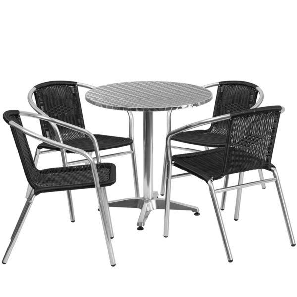 Wholesale 27.5'' Round Aluminum Indoor-Outdoor Table Set with 4 Black Rattan Chairs