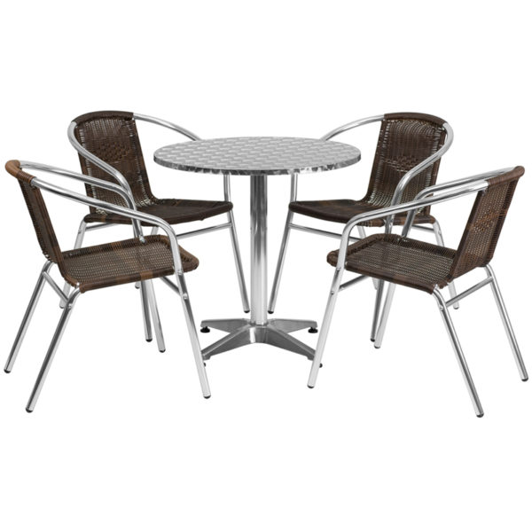 Wholesale 27.5'' Round Aluminum Indoor-Outdoor Table Set with 4 Dark Brown Rattan Chairs