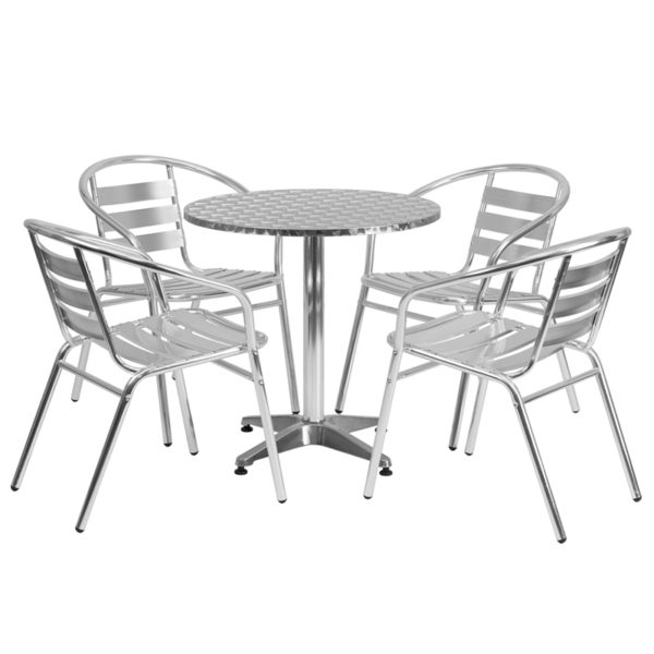 Wholesale 27.5'' Round Aluminum Indoor-Outdoor Table Set with 4 Slat Back Chairs