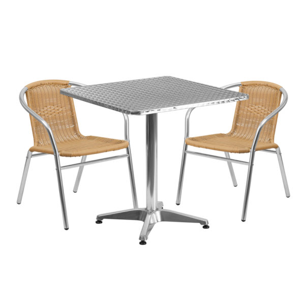 Wholesale 27.5'' Square Aluminum Indoor-Outdoor Table Set with 2 Beige Rattan Chairs