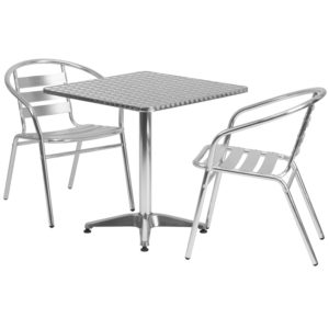 Wholesale 27.5'' Square Aluminum Indoor-Outdoor Table Set with 2 Slat Back Chairs