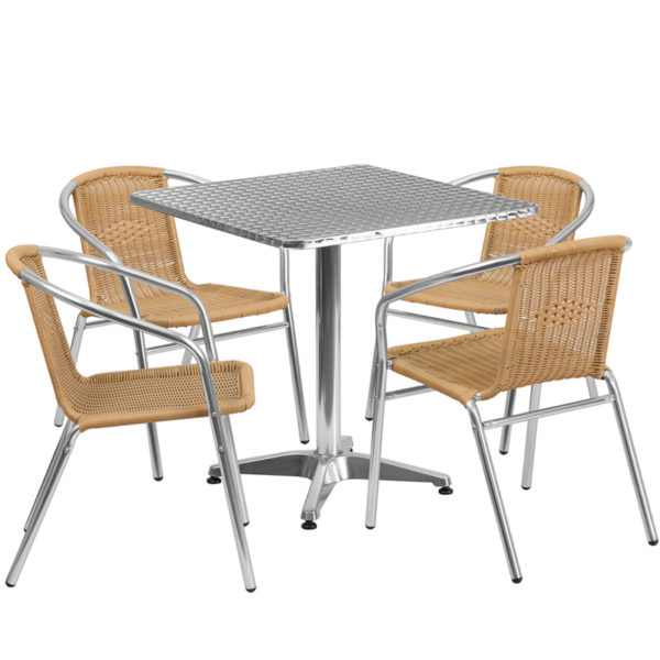 Wholesale 27.5'' Square Aluminum Indoor-Outdoor Table Set with 4 Beige Rattan Chairs