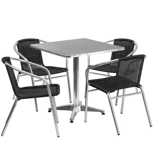 Wholesale 27.5'' Square Aluminum Indoor-Outdoor Table Set with 4 Black Rattan Chairs