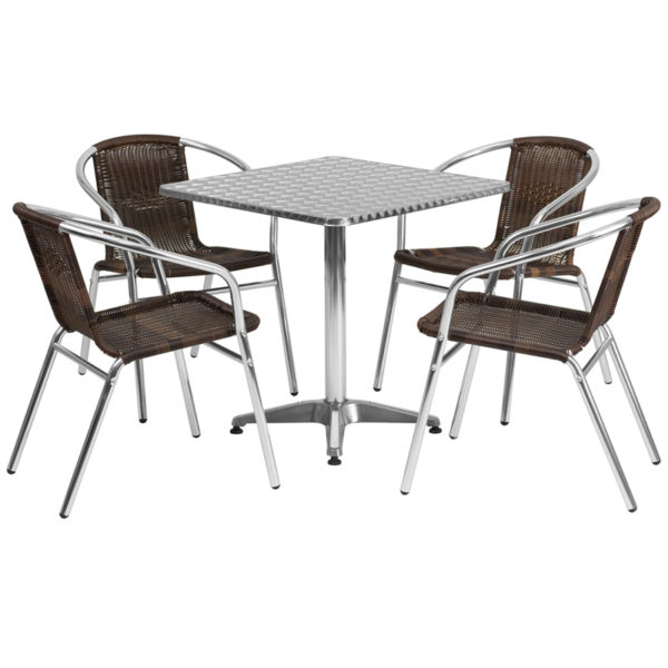 Wholesale 27.5'' Square Aluminum Indoor-Outdoor Table Set with 4 Dark Brown Rattan Chairs