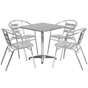 Wholesale 27.5'' Square Aluminum Indoor-Outdoor Table Set with 4 Slat Back Chairs