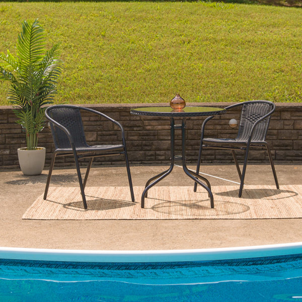 Lowest Price 28'' Round Glass Metal Table with Black Rattan Edging and 2 Black Rattan Stack Chairs