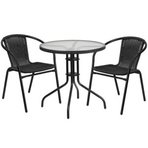 Wholesale 28'' Round Glass Metal Table with Black Rattan Edging and 2 Black Rattan Stack Chairs