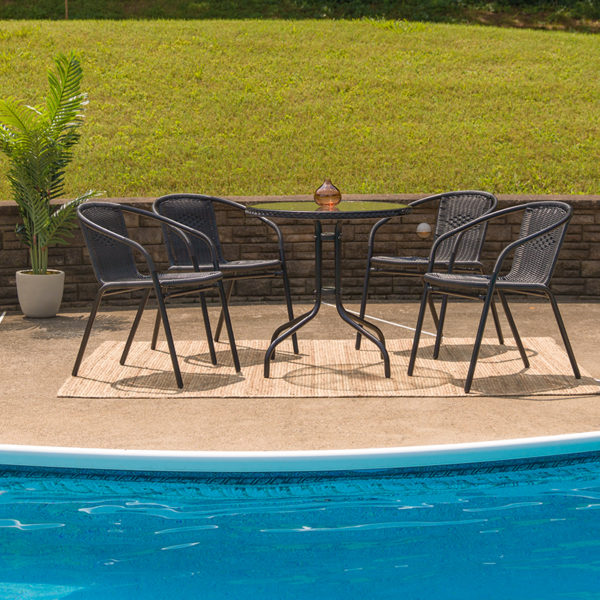 Lowest Price 28'' Round Glass Metal Table with Black Rattan Edging and 4 Black Rattan Stack Chairs