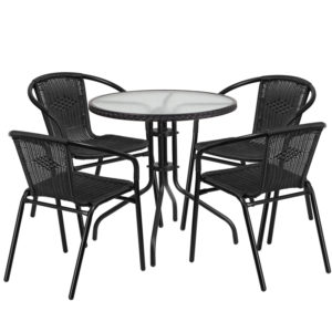 Wholesale 28'' Round Glass Metal Table with Black Rattan Edging and 4 Black Rattan Stack Chairs