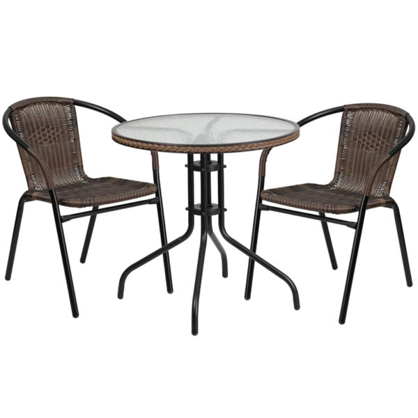 Wholesale 28'' Round Glass Metal Table with Dark Brown Rattan Edging and 2 Dark Brown Rattan Stack Chairs