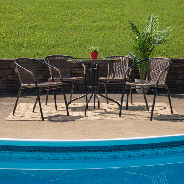 Lowest Price 28'' Round Glass Metal Table with Dark Brown Rattan Edging and 4 Dark Brown Rattan Stack Chairs