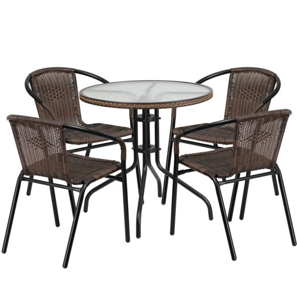 Wholesale 28'' Round Glass Metal Table with Dark Brown Rattan Edging and 4 Dark Brown Rattan Stack Chairs