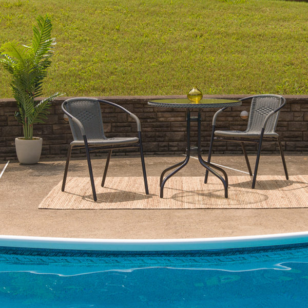 Lowest Price 28'' Round Glass Metal Table with Gray Rattan Edging and 2 Gray Rattan Stack Chairs