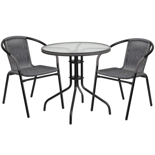 Wholesale 28'' Round Glass Metal Table with Gray Rattan Edging and 2 Gray Rattan Stack Chairs
