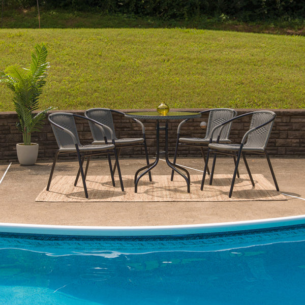 Lowest Price 28'' Round Glass Metal Table with Gray Rattan Edging and 4 Gray Rattan Stack Chairs