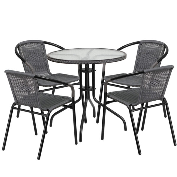 Wholesale 28'' Round Glass Metal Table with Gray Rattan Edging and 4 Gray Rattan Stack Chairs
