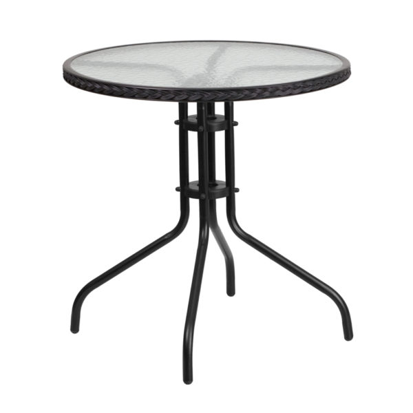 Wholesale 28'' Round Tempered Glass Metal Table with Black Rattan Edging