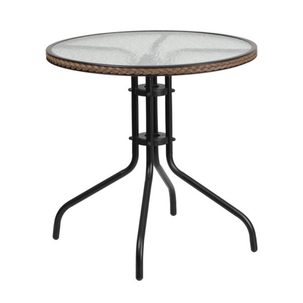 Wholesale 28'' Round Tempered Glass Metal Table with Dark Brown Rattan Edging