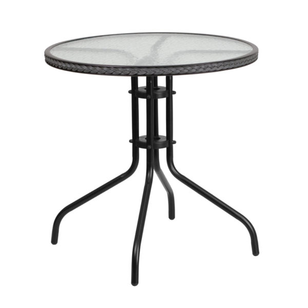Wholesale 28'' Round Tempered Glass Metal Table with Gray Rattan Edging