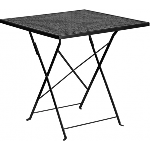 Wholesale 28'' Square Black Indoor-Outdoor Steel Folding Patio Table