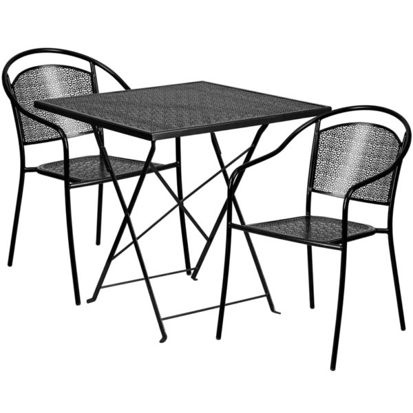 Wholesale 28'' Square Black Indoor-Outdoor Steel Folding Patio Table Set with 2 Round Back Chairs