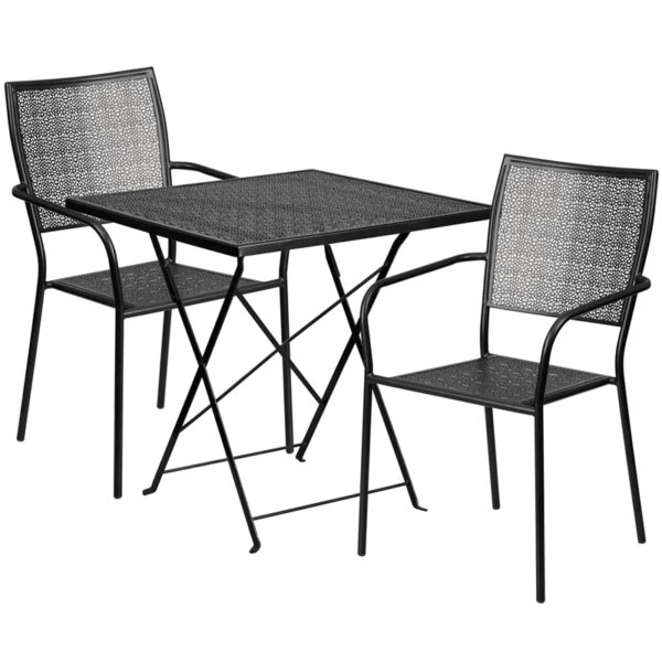 Wholesale 28'' Square Black Indoor-Outdoor Steel Folding Patio Table Set with 2 Square Back Chairs