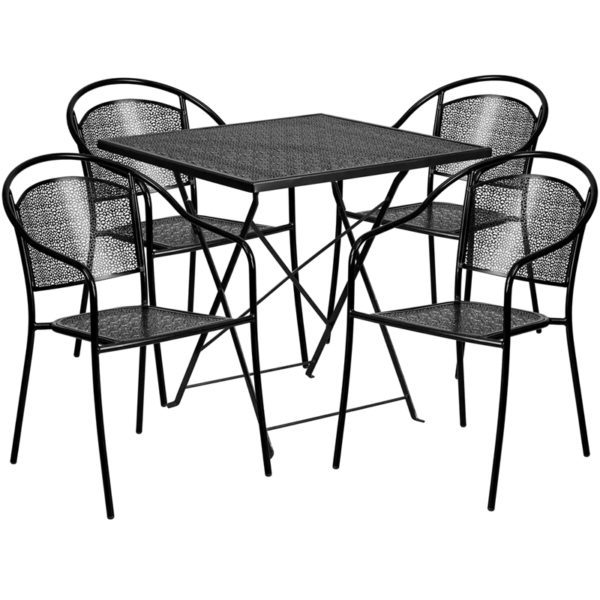 Wholesale 28'' Square Black Indoor-Outdoor Steel Folding Patio Table Set with 4 Round Back Chairs
