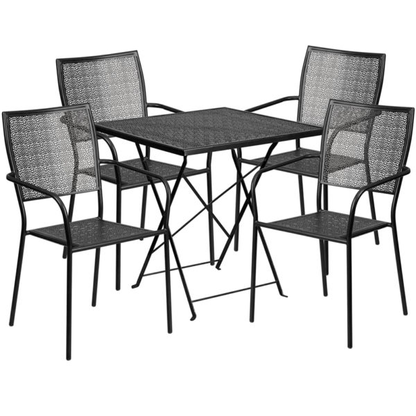 Wholesale 28'' Square Black Indoor-Outdoor Steel Folding Patio Table Set with 4 Square Back Chairs