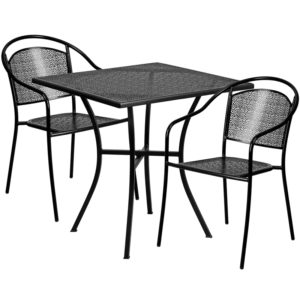 Wholesale 28'' Square Black Indoor-Outdoor Steel Patio Table Set with 2 Round Back Chairs