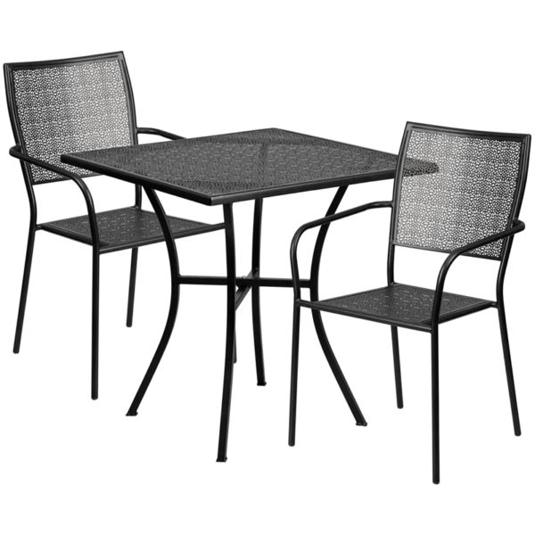 Wholesale 28'' Square Black Indoor-Outdoor Steel Patio Table Set with 2 Square Back Chairs