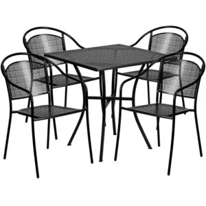 Wholesale 28'' Square Black Indoor-Outdoor Steel Patio Table Set with 4 Round Back Chairs